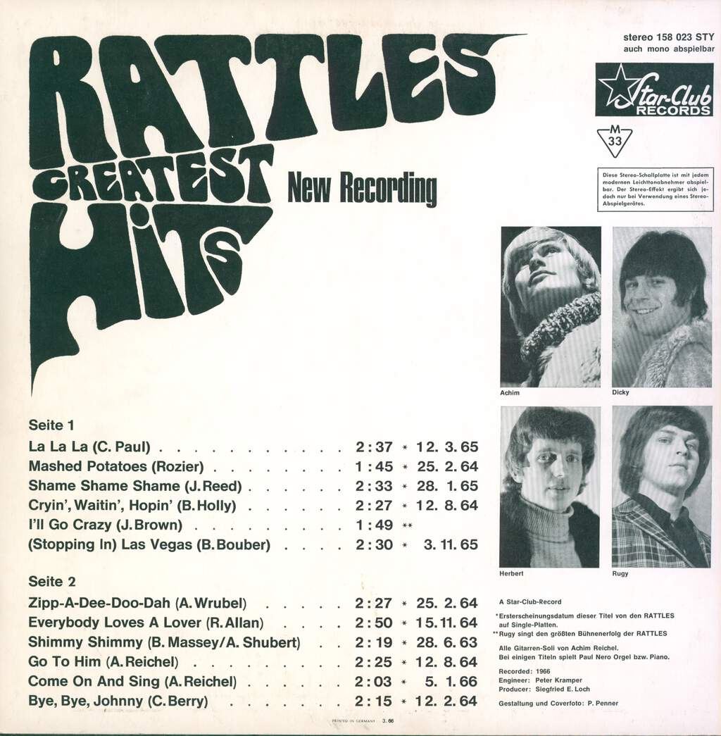 "The Rattles: Rattles Greatest Hits ""New Recording"", LP (Vinyl)"
