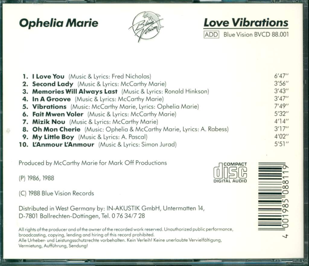 Ophélia Olivaccé-Marie: Love Vibrations, CD