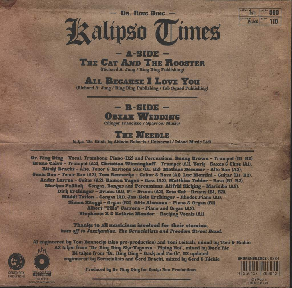 "Dr. Ring-Ding: Kalipso Times, 10"" Vinyl EP"