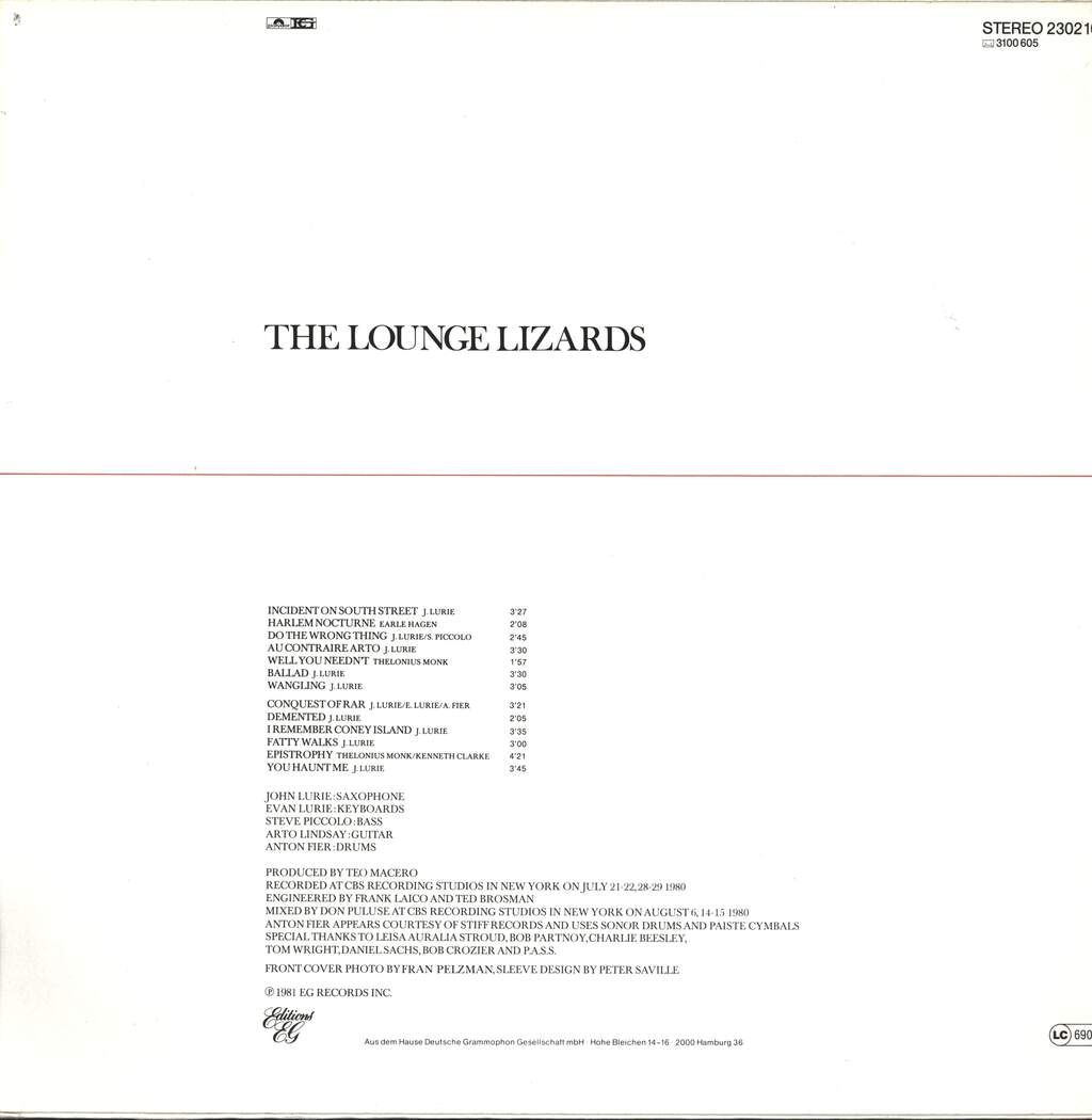 Lounge Lizards: The Lounge Lizards, LP (Vinyl)