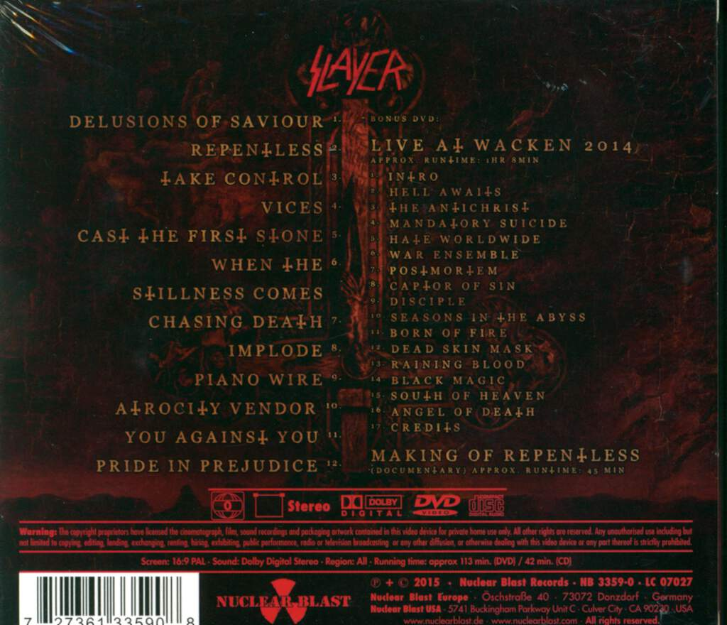 Slayer: Repentless, 2×CD