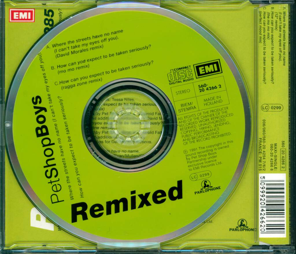 Pet Shop Boys: Where The Streets Have No Name (I Can't Take My Eyes Off You) / How Can You Expect To Be Taken Seriously? (Remixed), Mini CD