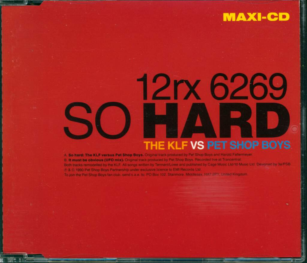 Pet Shop Boys: So Hard (The KLF vs Pet Shop Boys), Mini CD