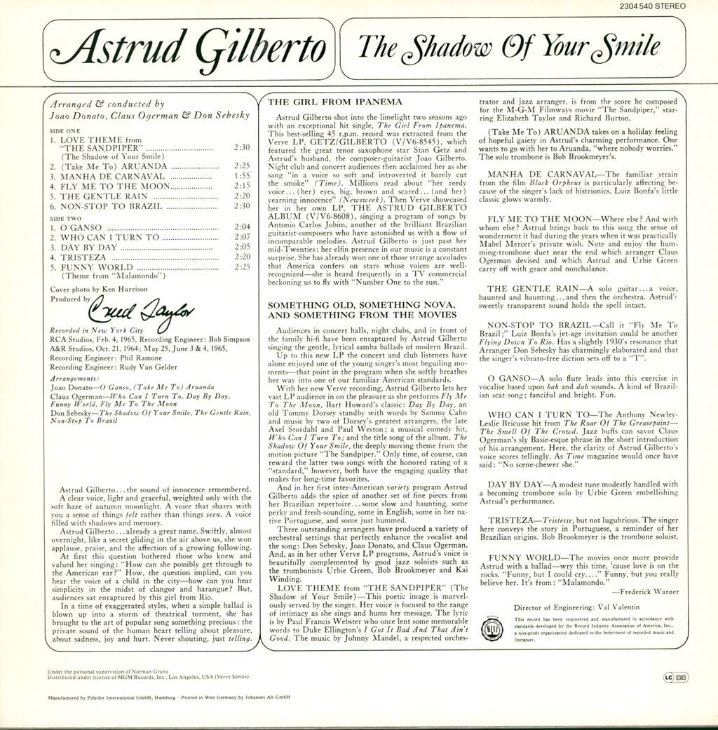 Astrud Gilberto: The Shadow Of Your Smile, LP (Vinyl)