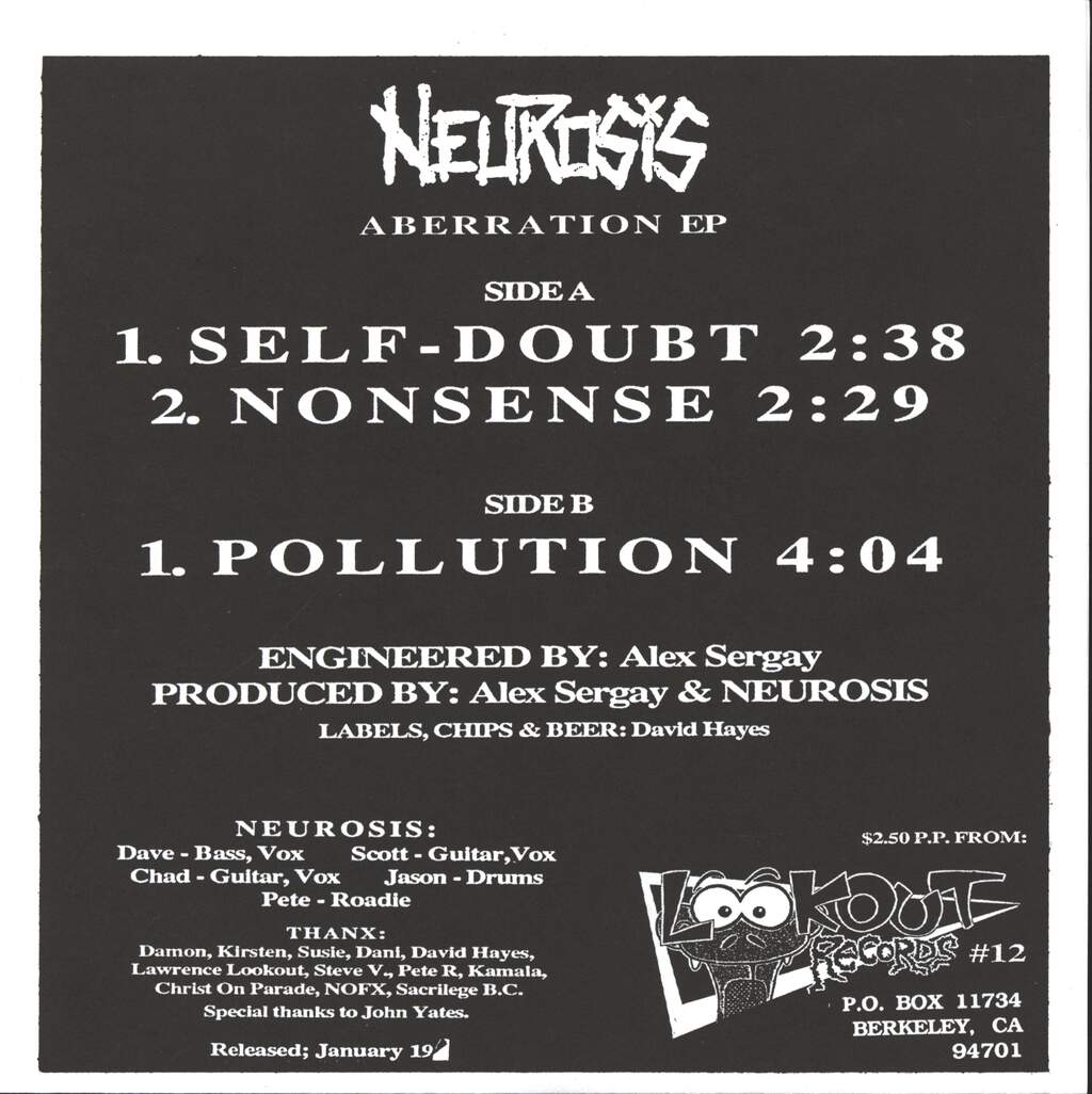"Neurosis: Aberration EP, 7"" Single (Vinyl)"