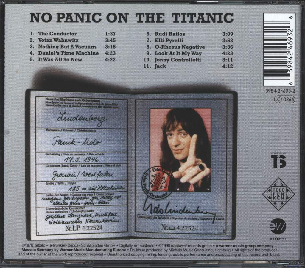 Udo Lindenberg Und Das Panikorchester: No Panic On The Titanic, CD