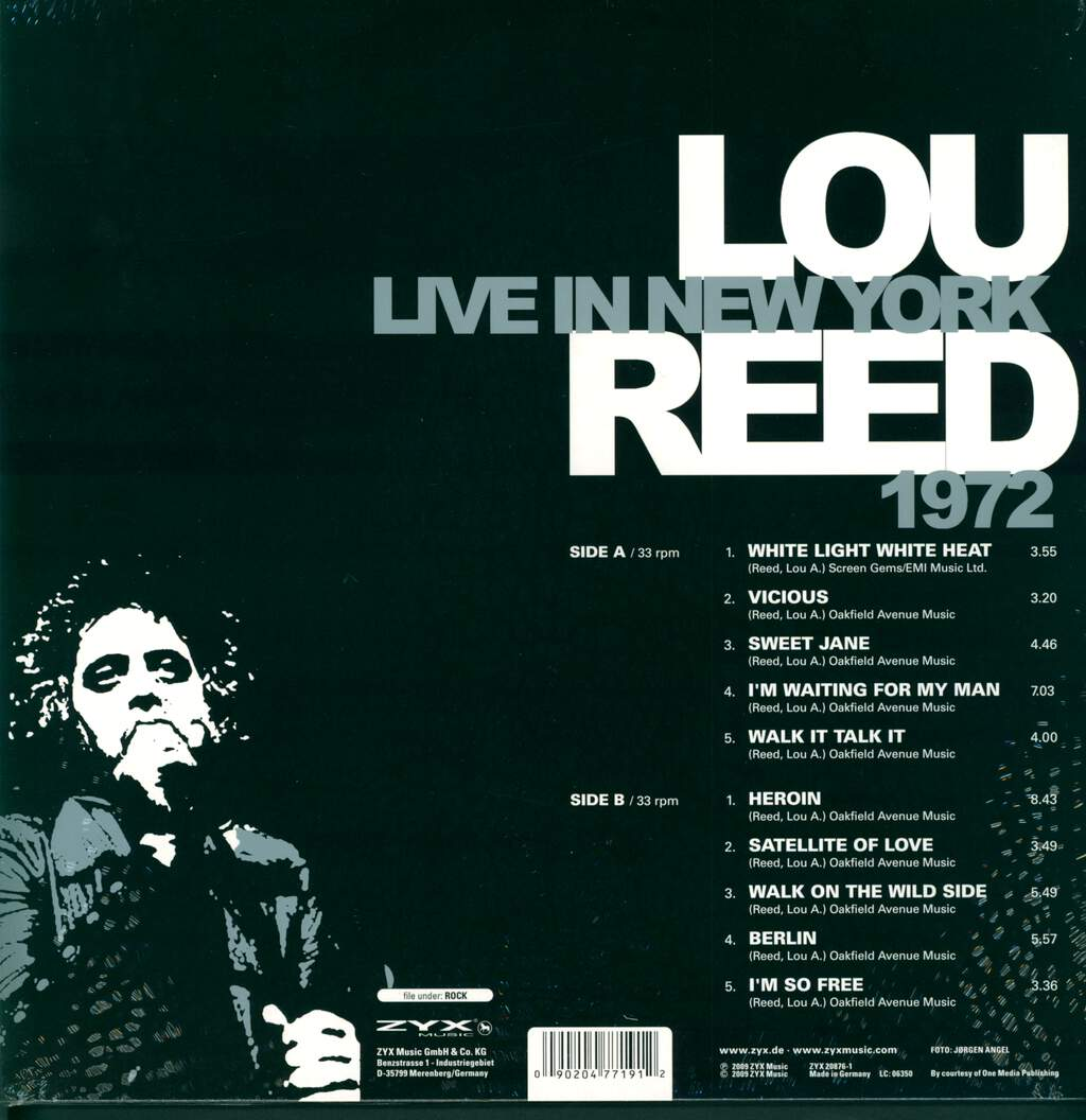 Lou Reed: Live In New York 1972, LP (Vinyl)