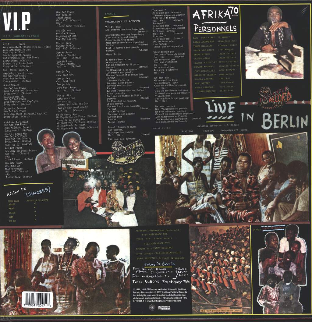 Fela Kuti: V.I.P. / Authority Stealing, LP (Vinyl)