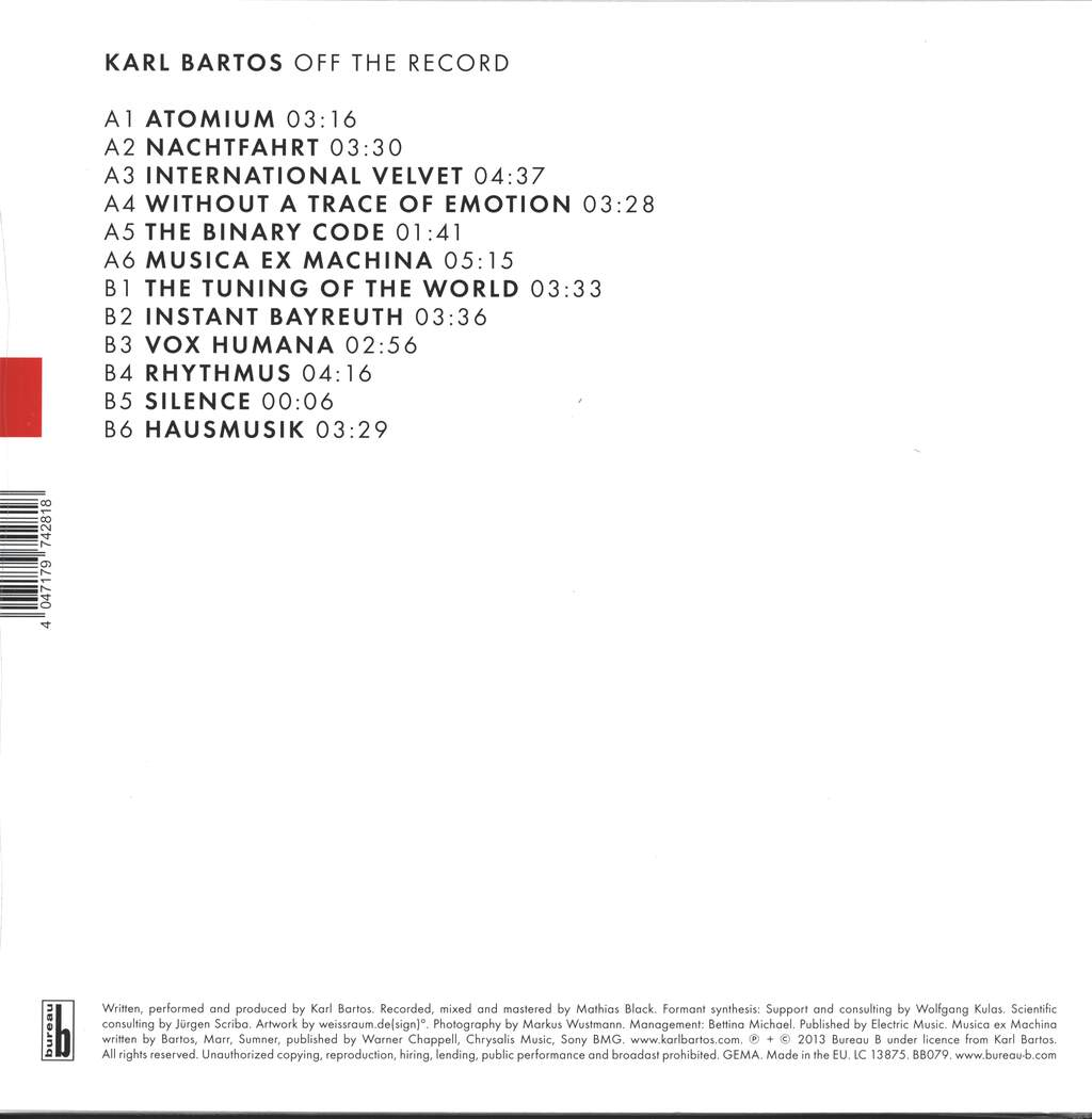 Karl Bartos: Off The Record, LP (Vinyl)