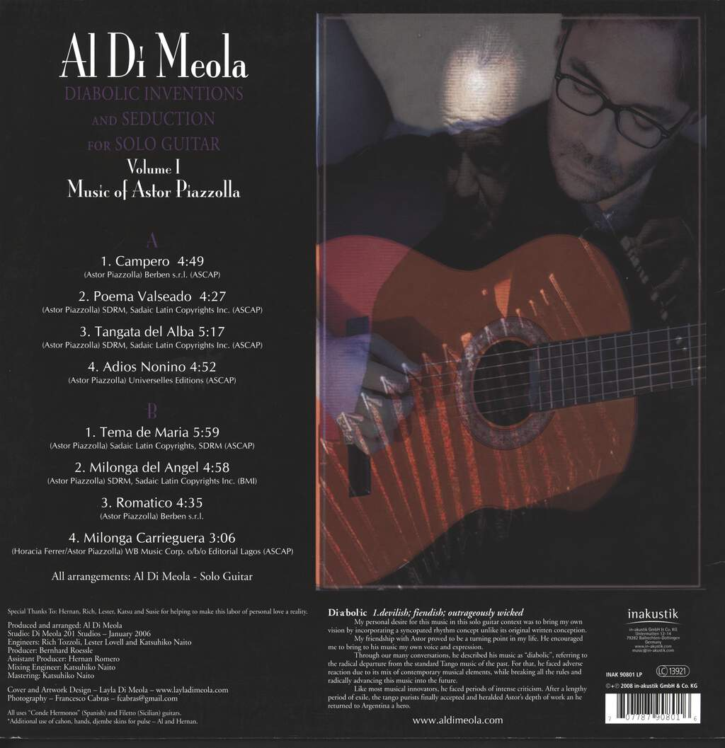 Al Di Meola: Diabolic Inventions And Seduction For Solo Guitar Volume I (Music Of Astor Piazzolla), LP (Vinyl)