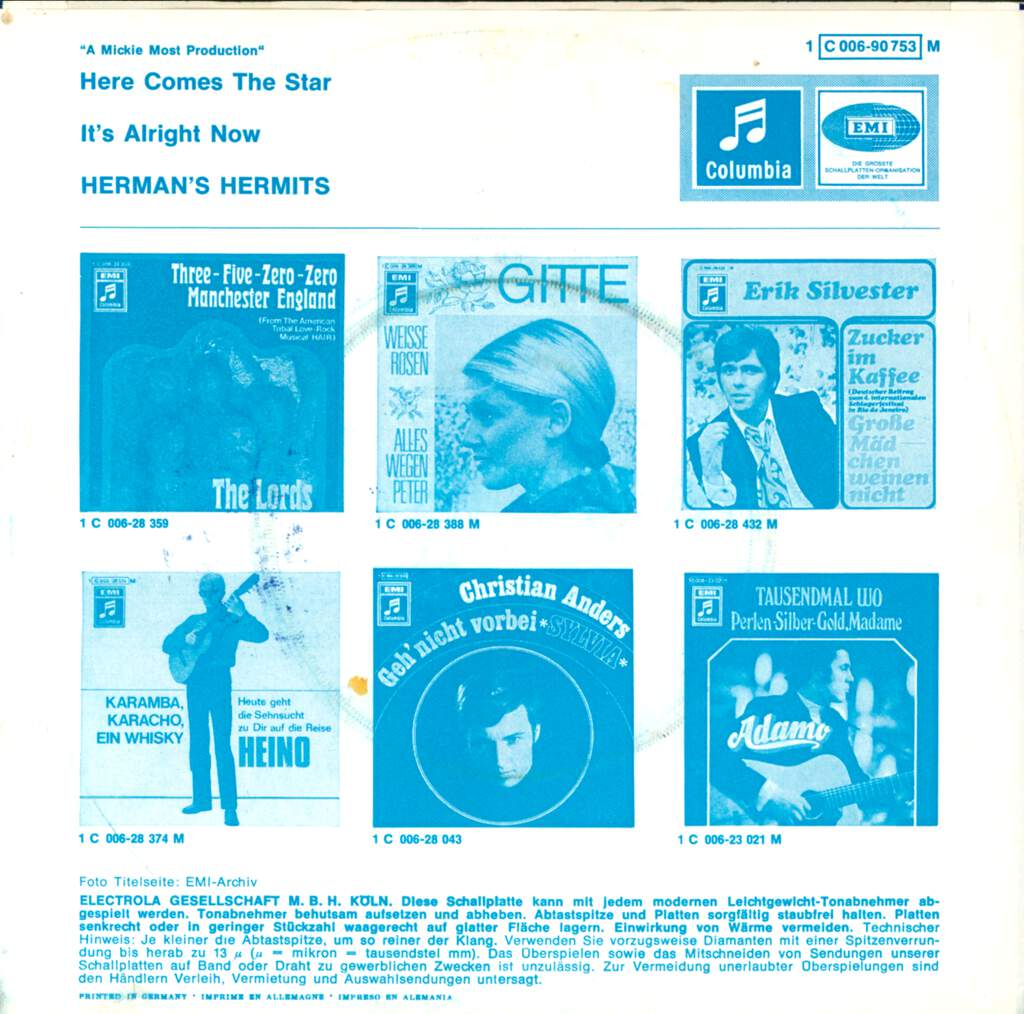 """Herman's Hermits: Here Comes The Star / It's Alright Now, 7"""" Single (Vinyl)"""