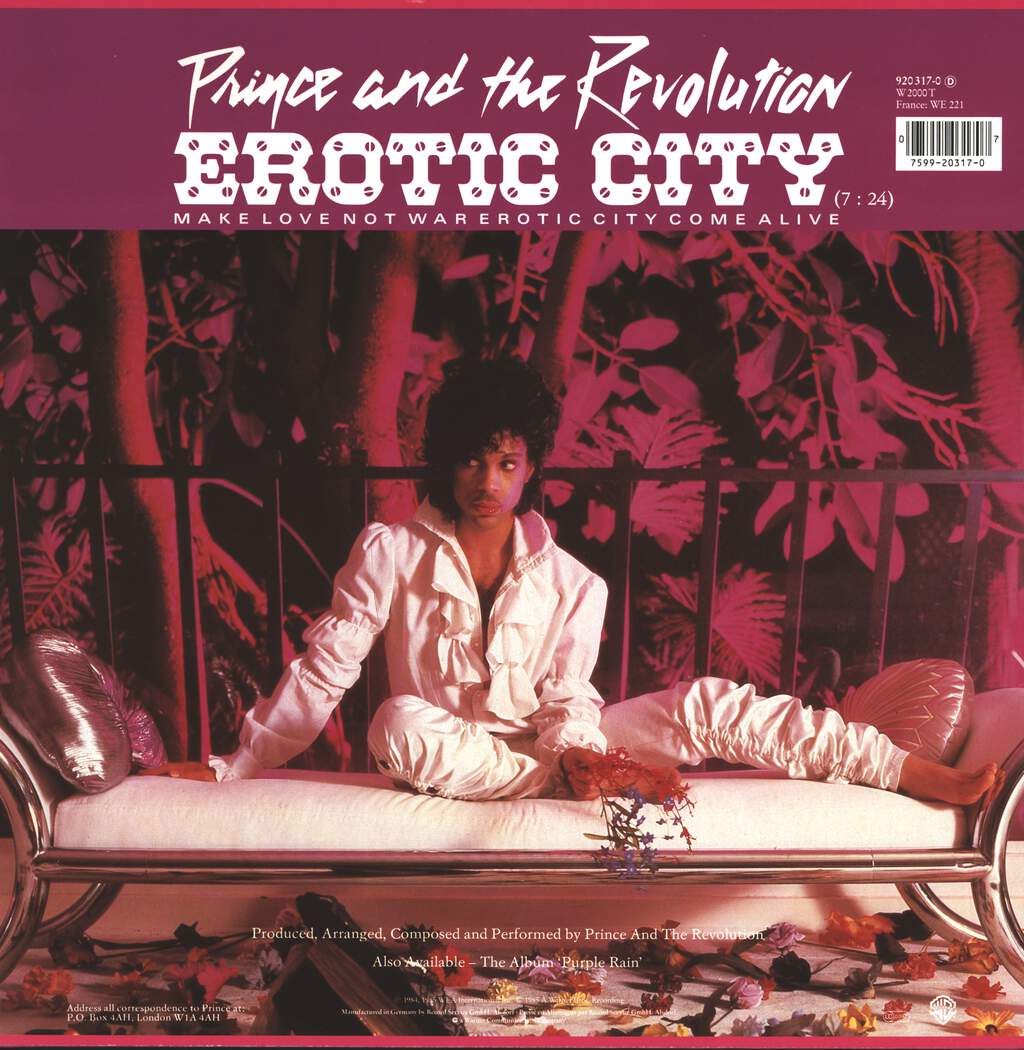 "Prince and the Revolution: Let's Go Crazy / Take Me With U / Erotic City, 12"" Maxi Single (Vinyl)"
