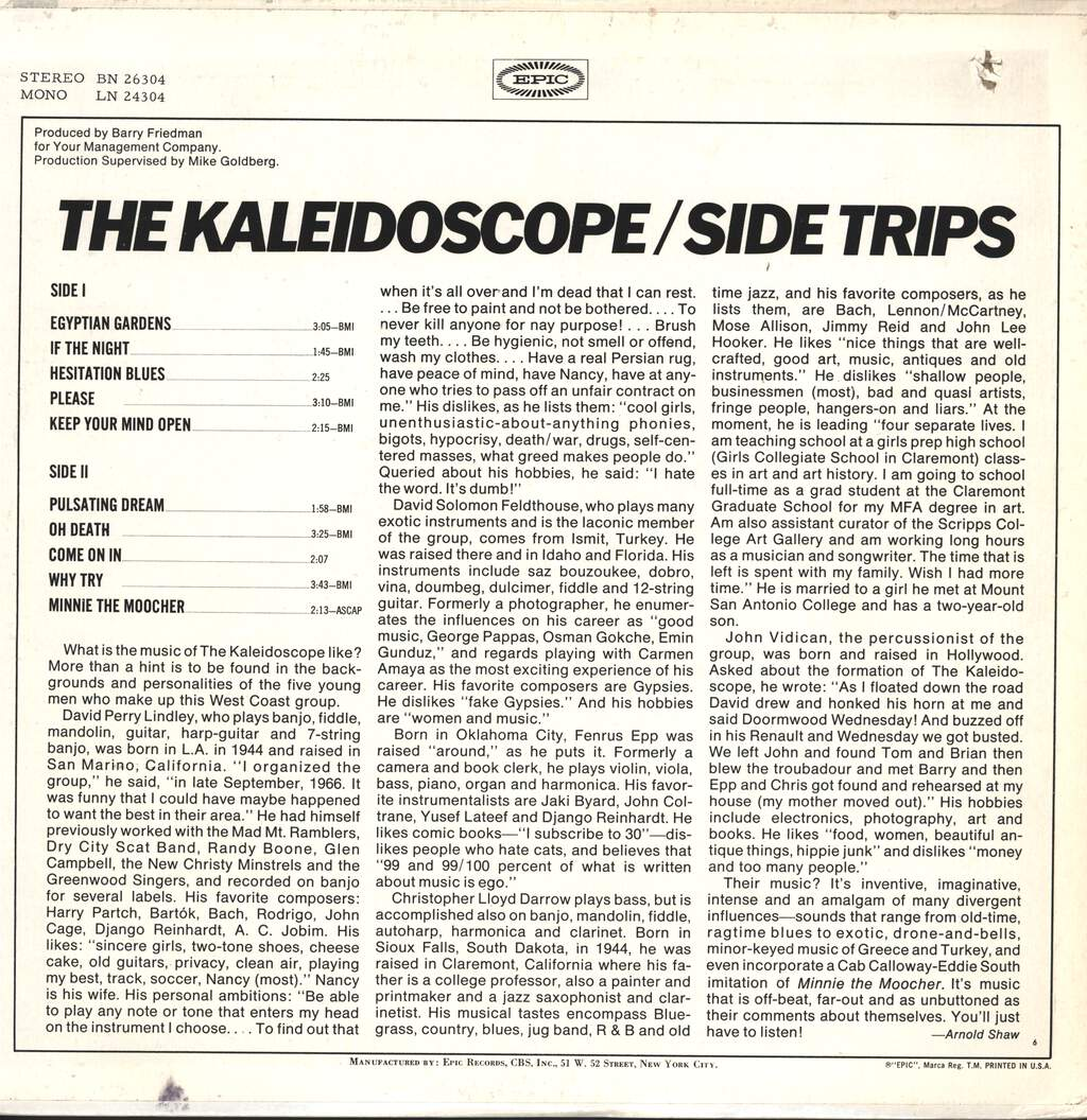 Kaleidoscope: Side Trips, LP (Vinyl)