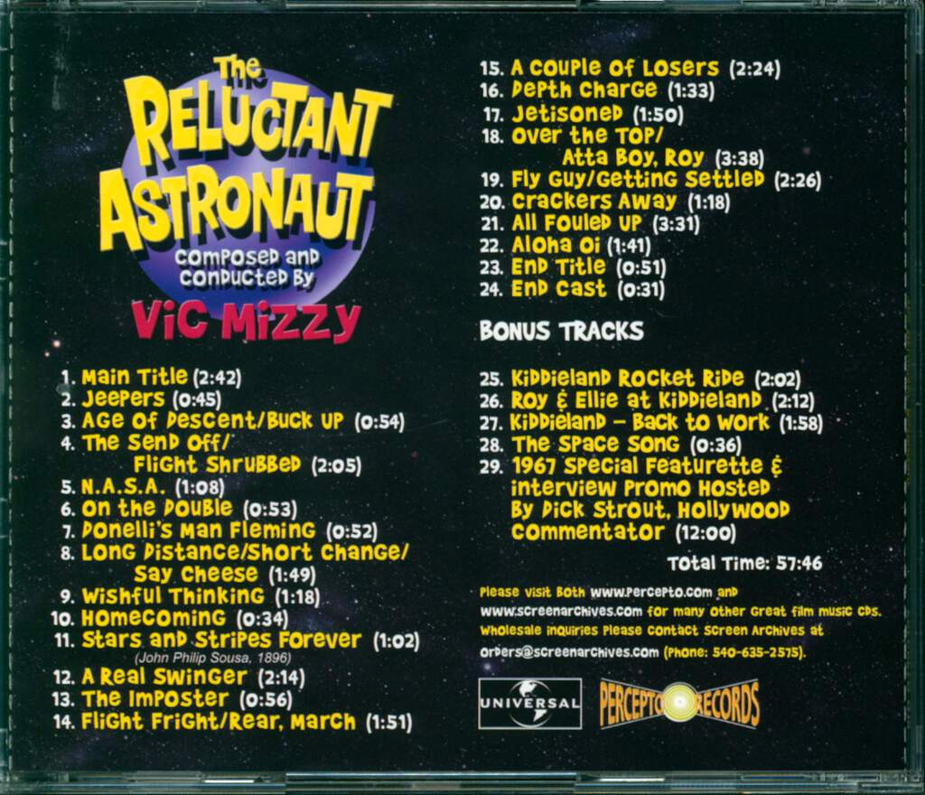 Vic Mizzy: The Reluctant Astronaut (Original Motion Picture Soundtrack), CD