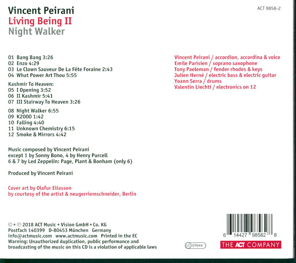 Vincent Peirani: Living Being II - Night Walker, CD