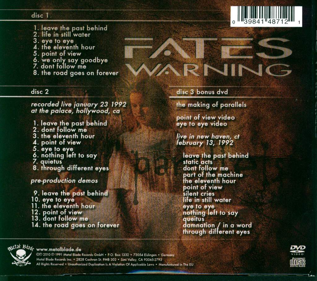 Fates Warning: Parallels, 2×CD