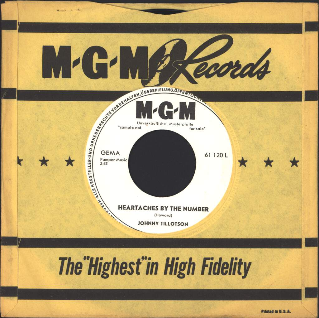 """Johnny Tillotson: Heartaches By The Number / Your Mem'ry Comes Along, 7"""" Single (Vinyl)"""