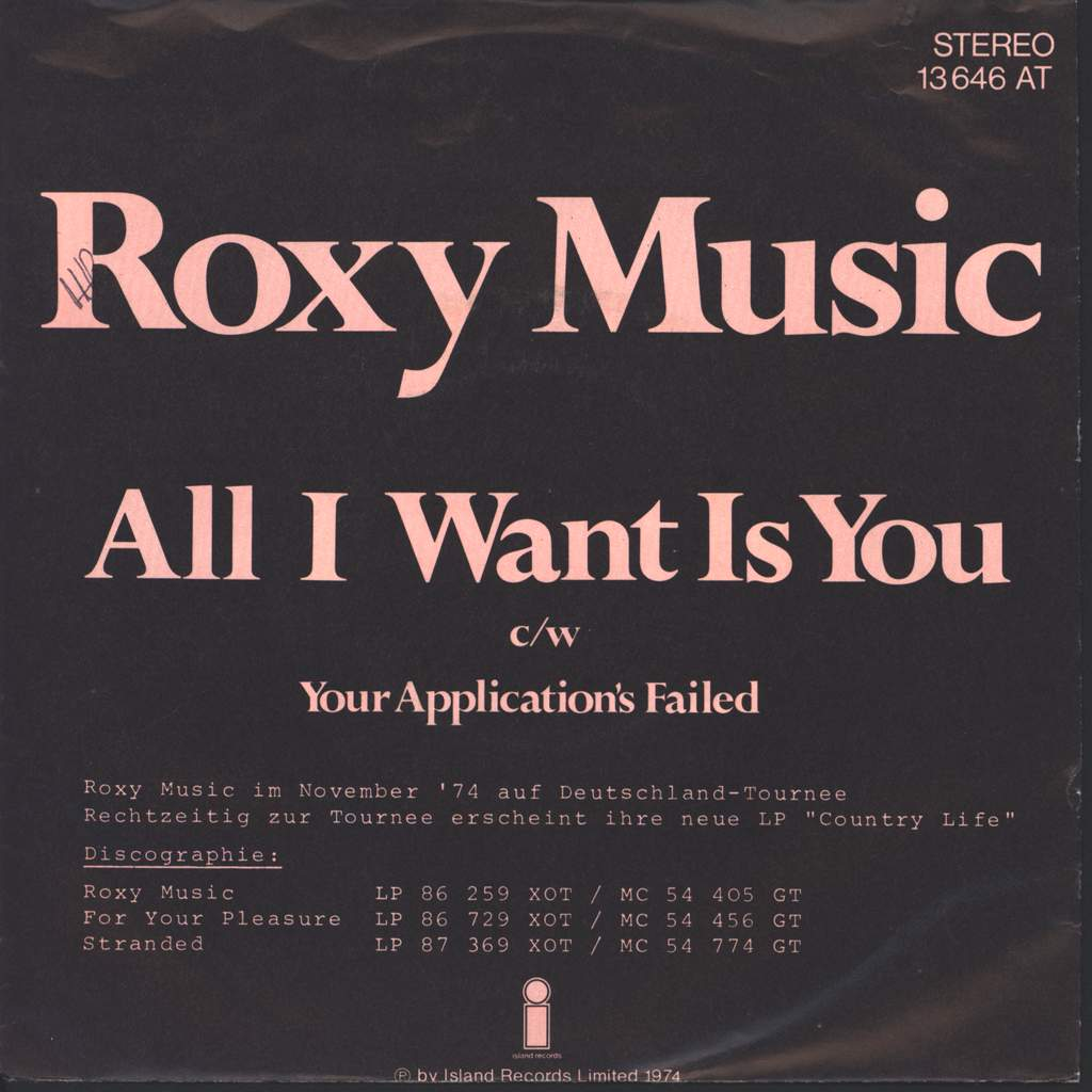 """Roxy Music: All I Want Is You, 7"""" Single (Vinyl)"""