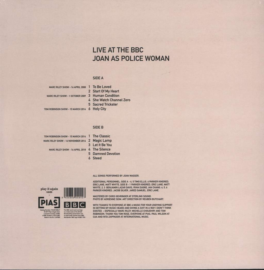 Joan As Police Woman: Live At The BBC, LP (Vinyl)