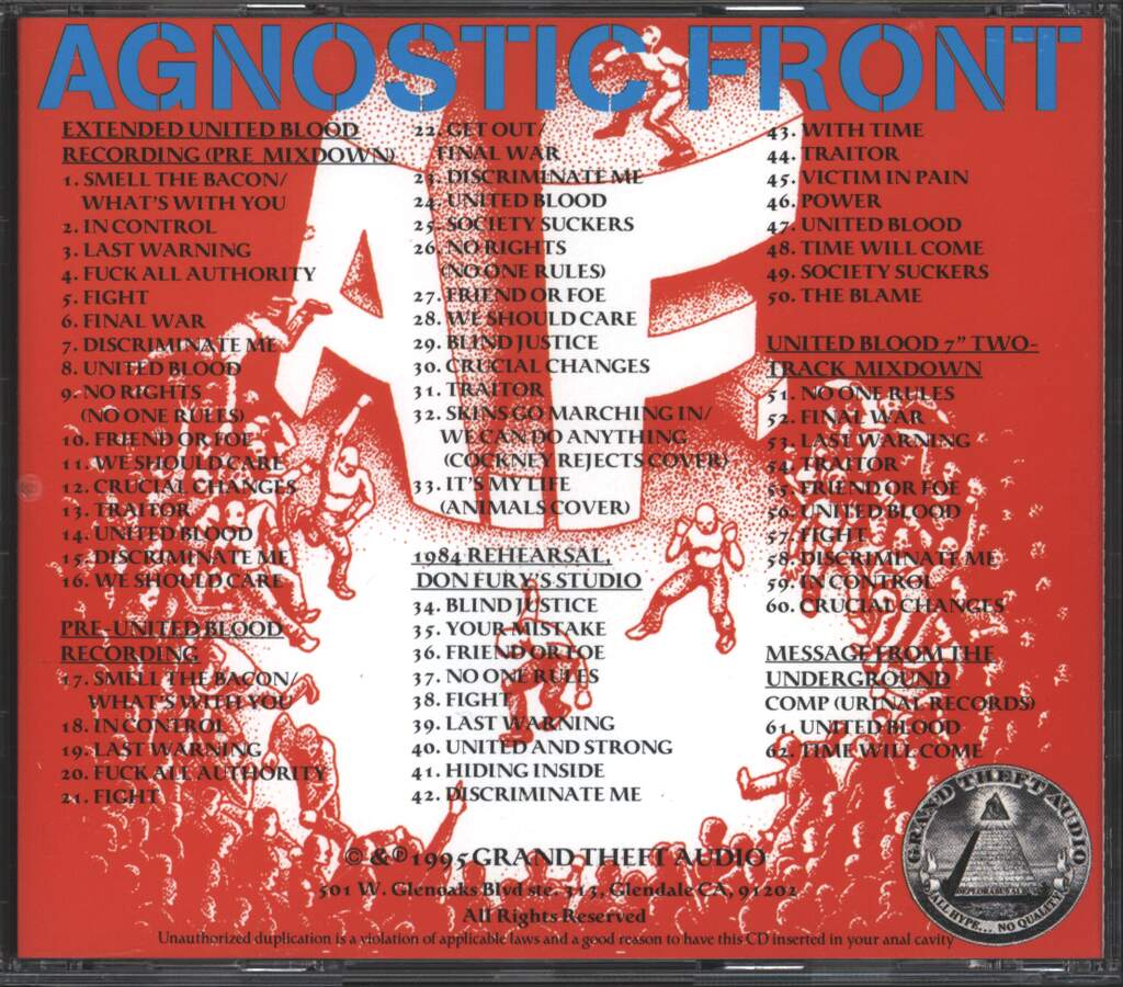 Agnostic Front: Raw Unleashed, CD