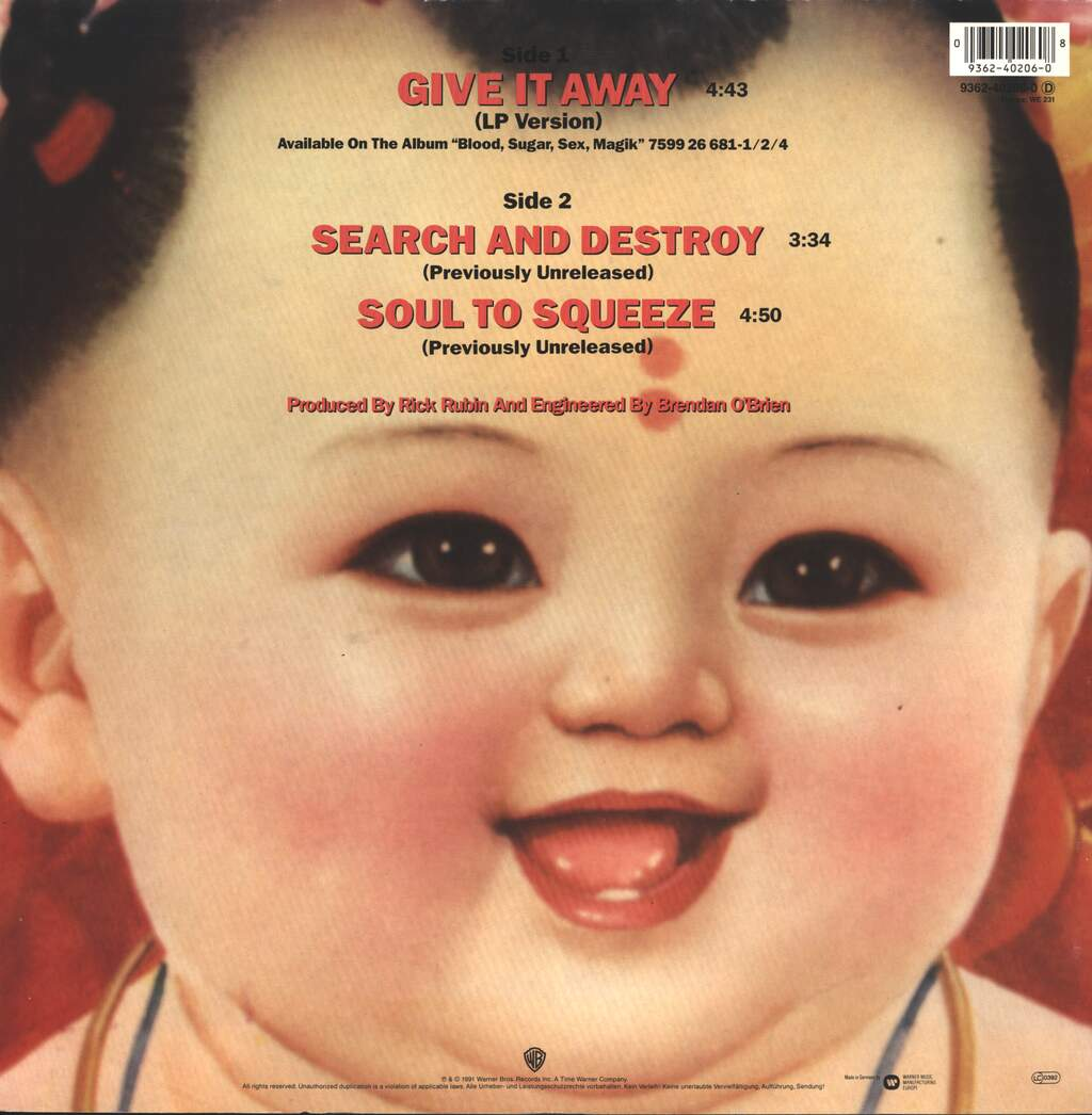 """Red Hot Chili Peppers: Give It Away, 12"""" Maxi Single (Vinyl)"""
