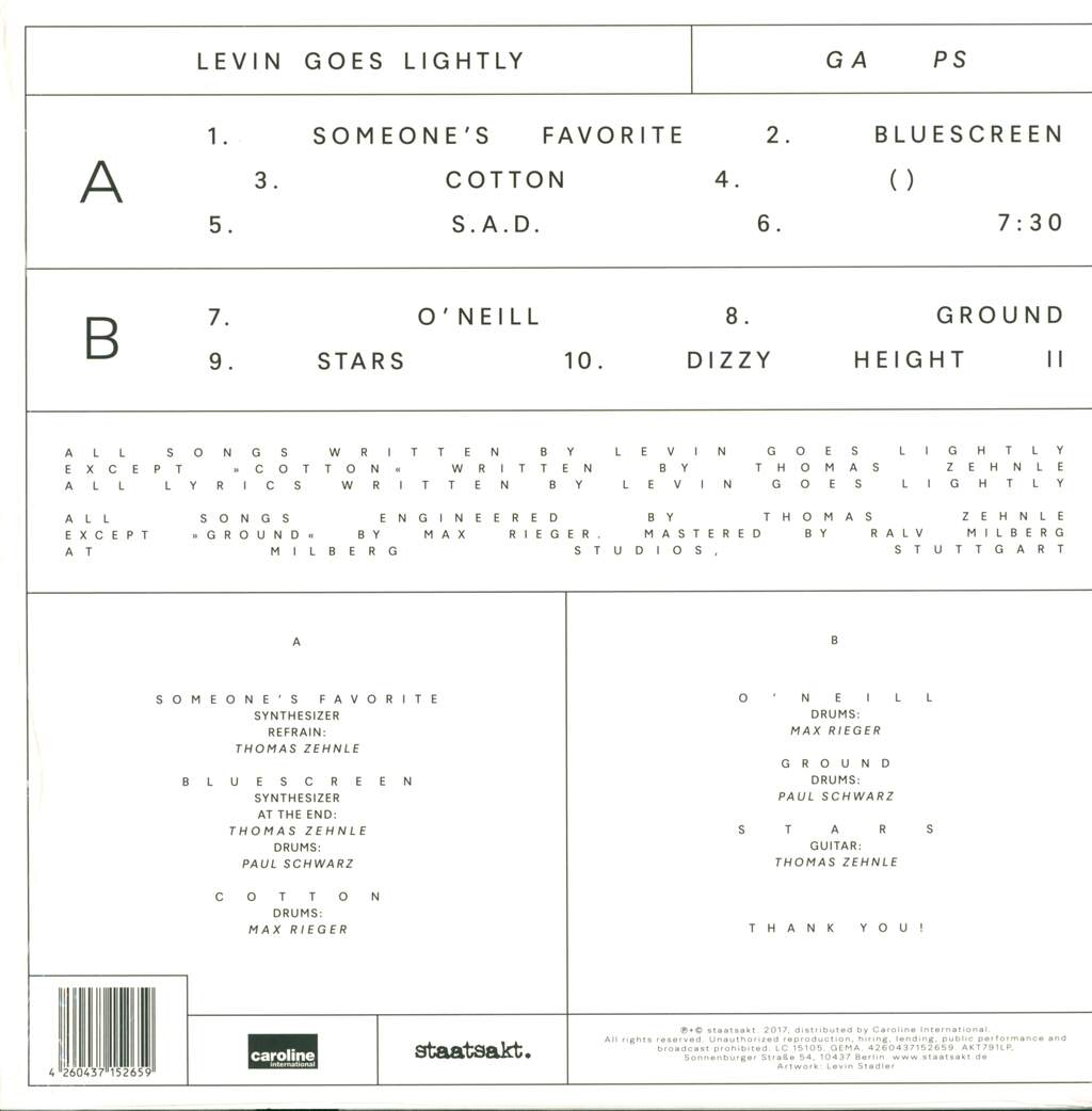 Levin Goes Lightly: GA PS, LP (Vinyl)