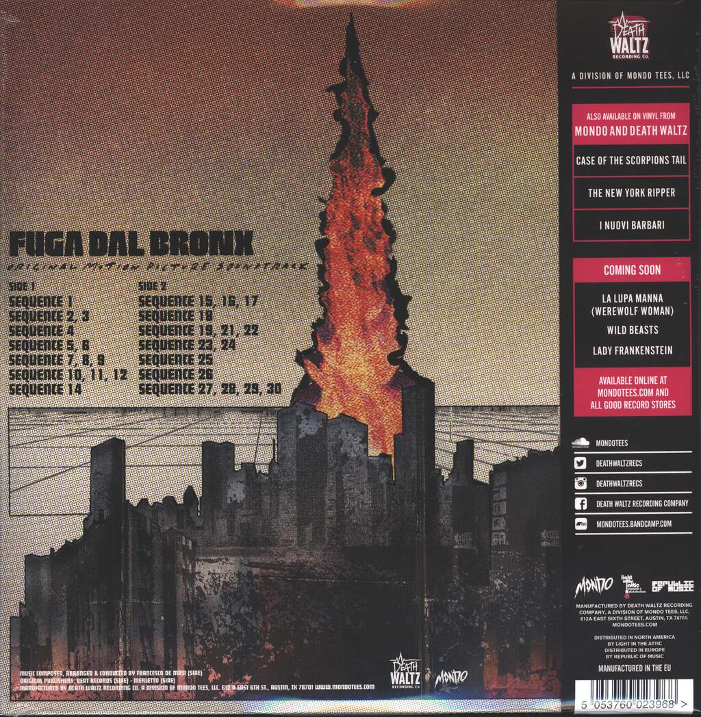 Francesco De Masi: Fuga Dal Bronx (Original Motion Picture Soundtrack), LP (Vinyl)