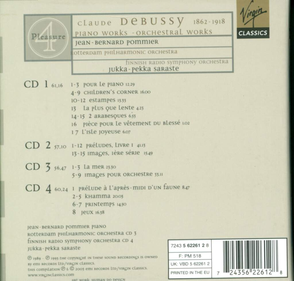 Claude Debussy: Piano Works - Orchestral Works, 4×CD