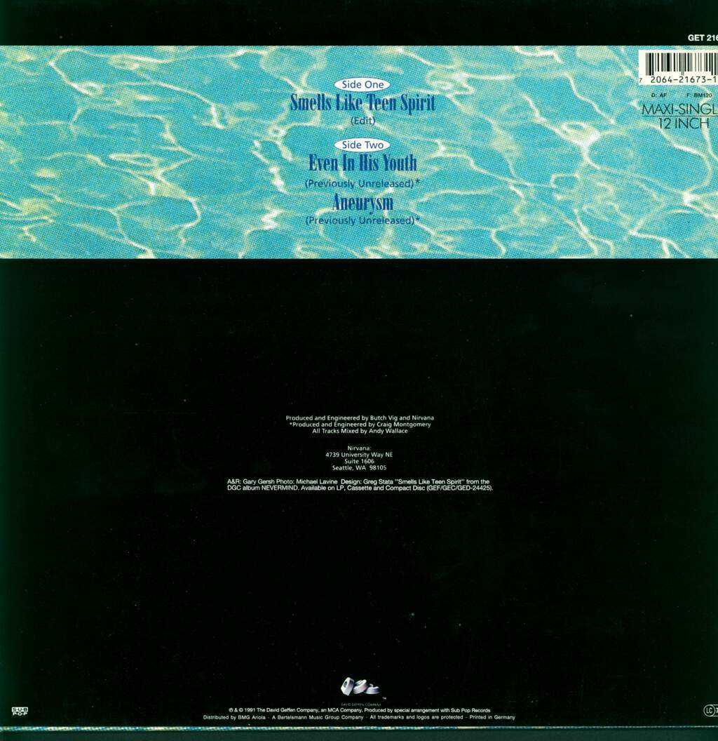 "Nirvana: Smells Like Teen Spirit, 12"" Maxi Single (Vinyl)"