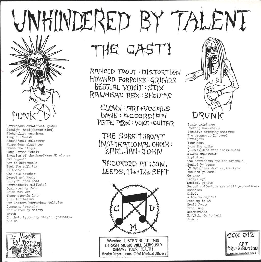 Sore Throat: Unhindered By Talent, LP (Vinyl)