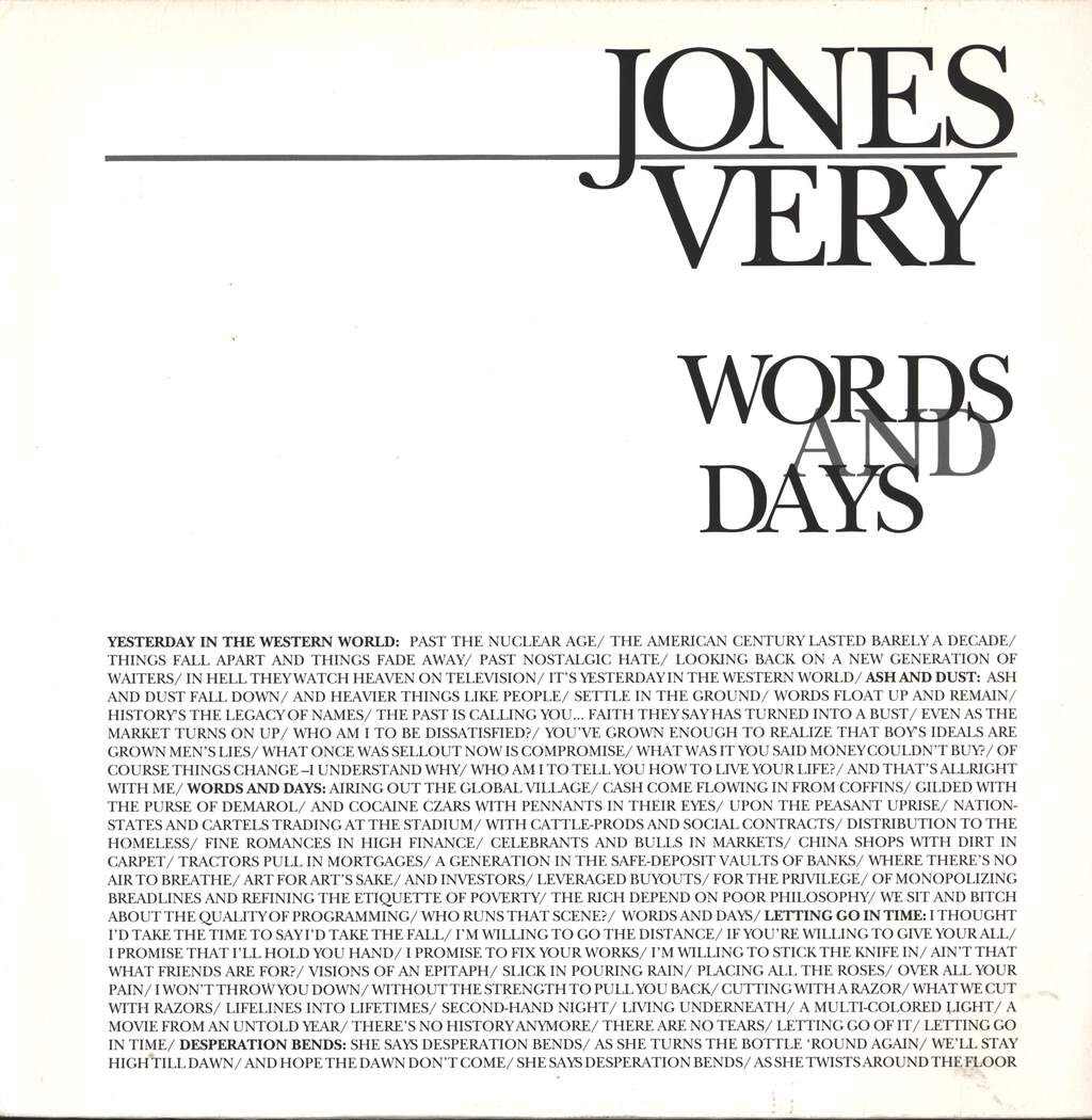 Jones Very: Words And Days, LP (Vinyl)