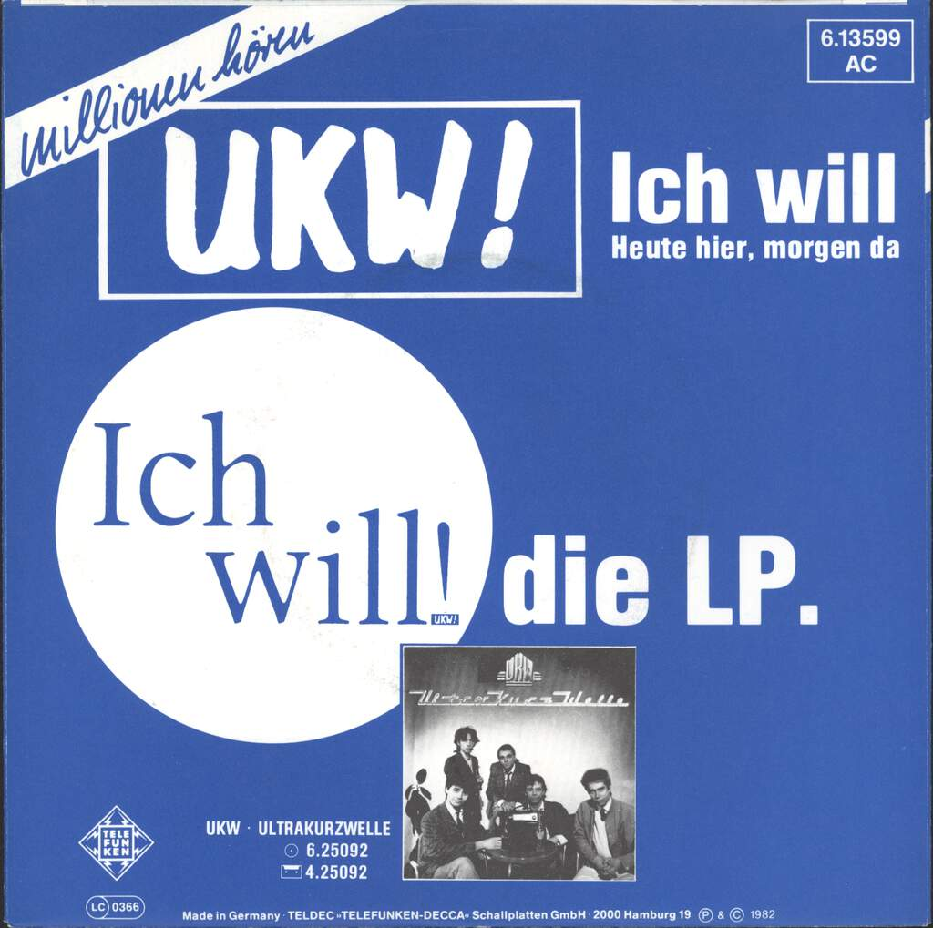 "UKW (Berlin): Ich will!, 7"" Single (Vinyl)"