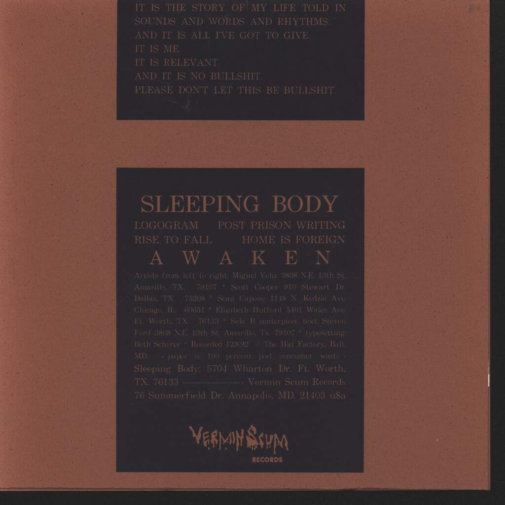 "Sleeping Body: Awaken, 7"" Single (Vinyl)"