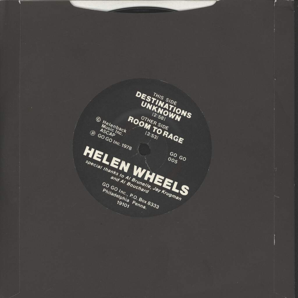 "Helen Wheels: Destinations Unknown / Room To Rage, 7"" Single (Vinyl)"