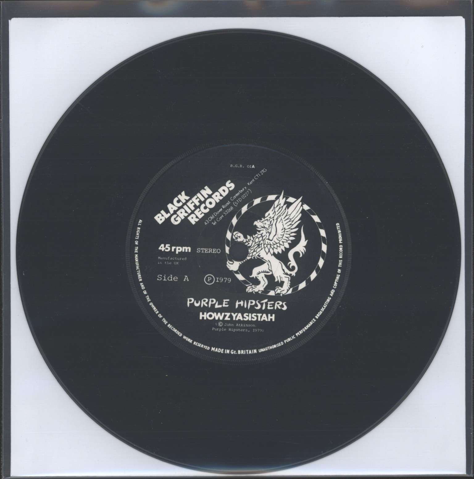 "Purple Hipsters: Howzyasistah, 7"" Single (Vinyl)"
