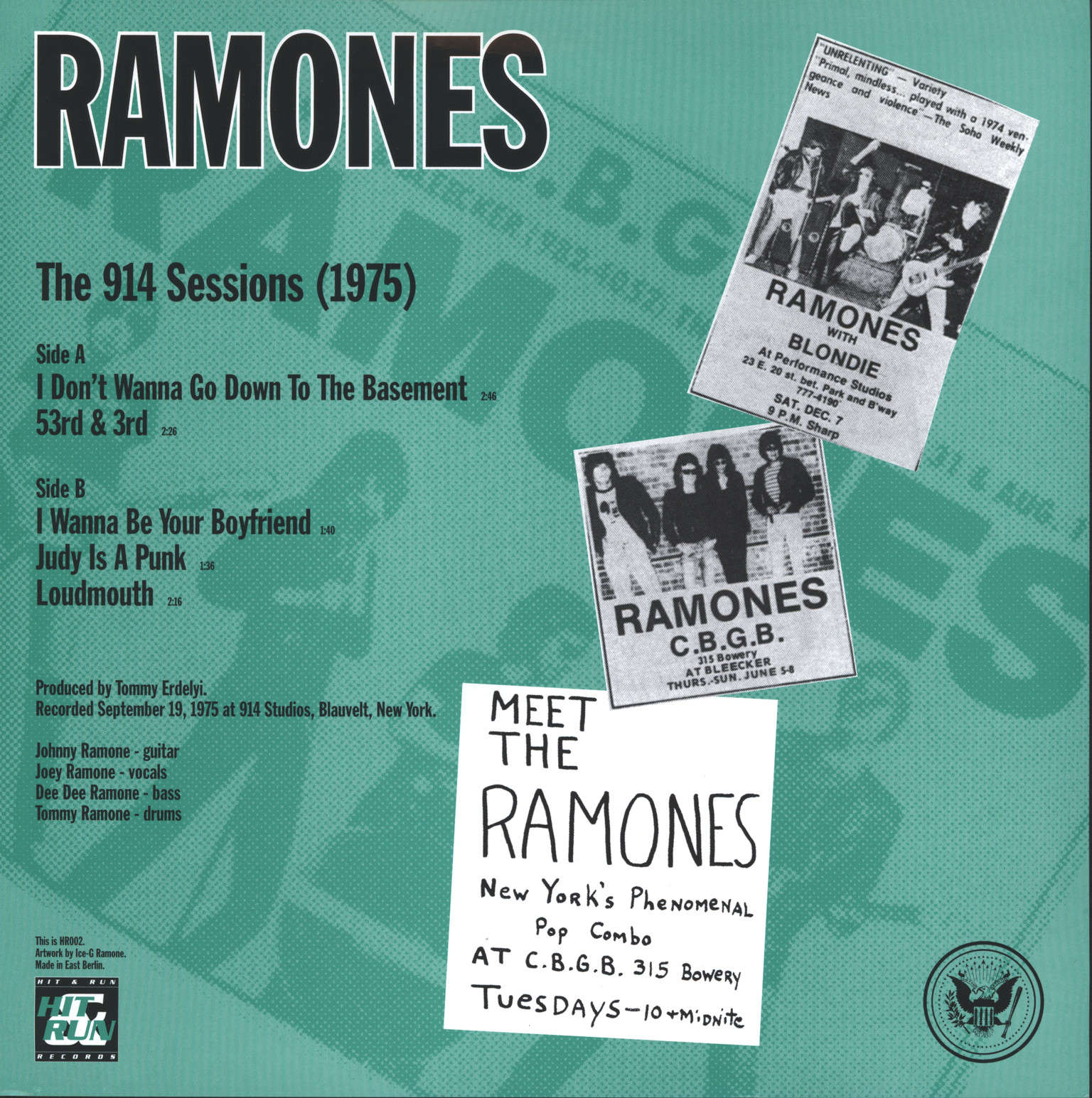 "Ramones: Judy's In The Basement - The 914 Sessions (1975), 10"" Vinyl EP"