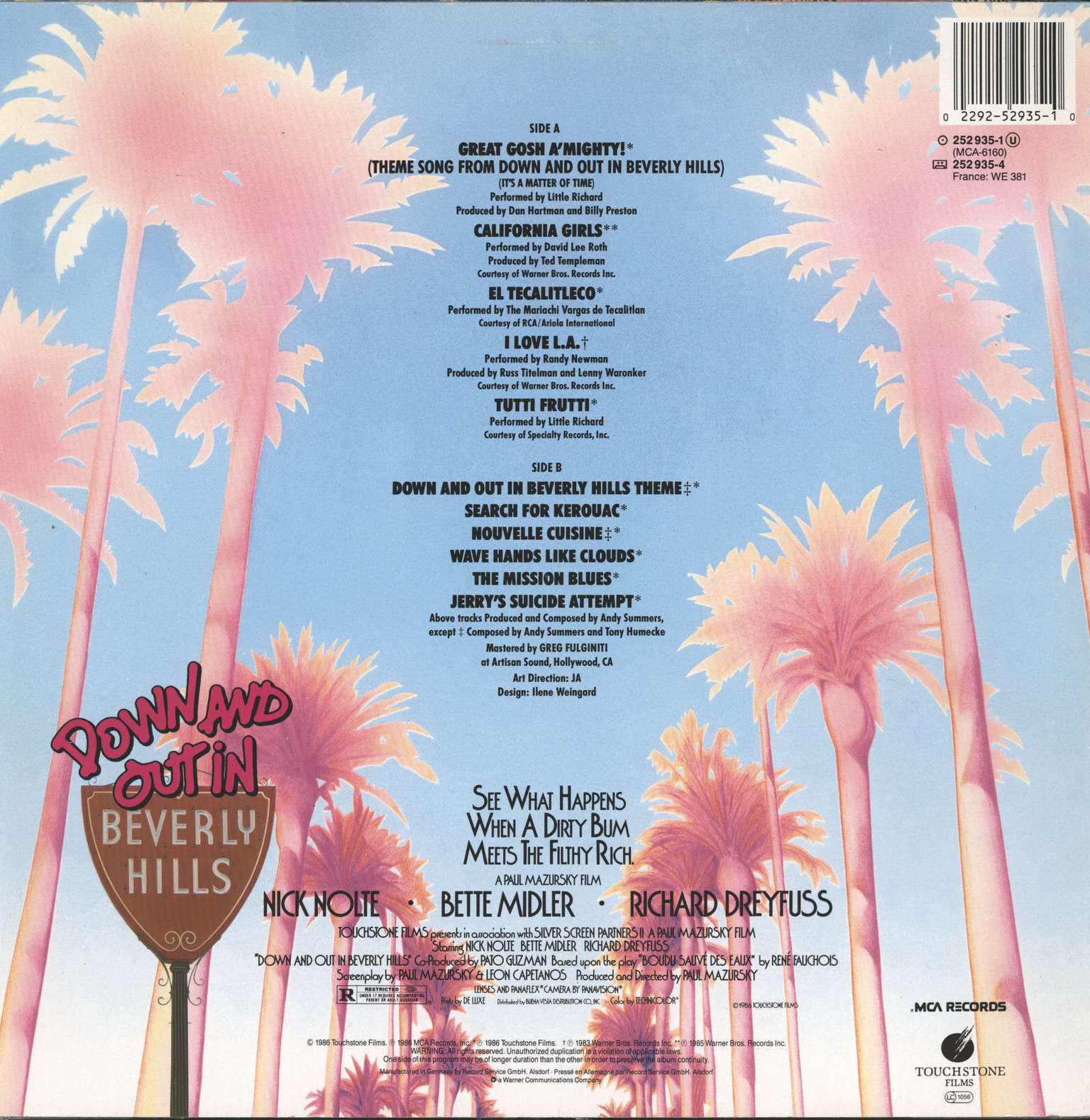 Various: Down And Out In Beverly Hills - Original Motion Picture Soundtrack, LP (Vinyl)
