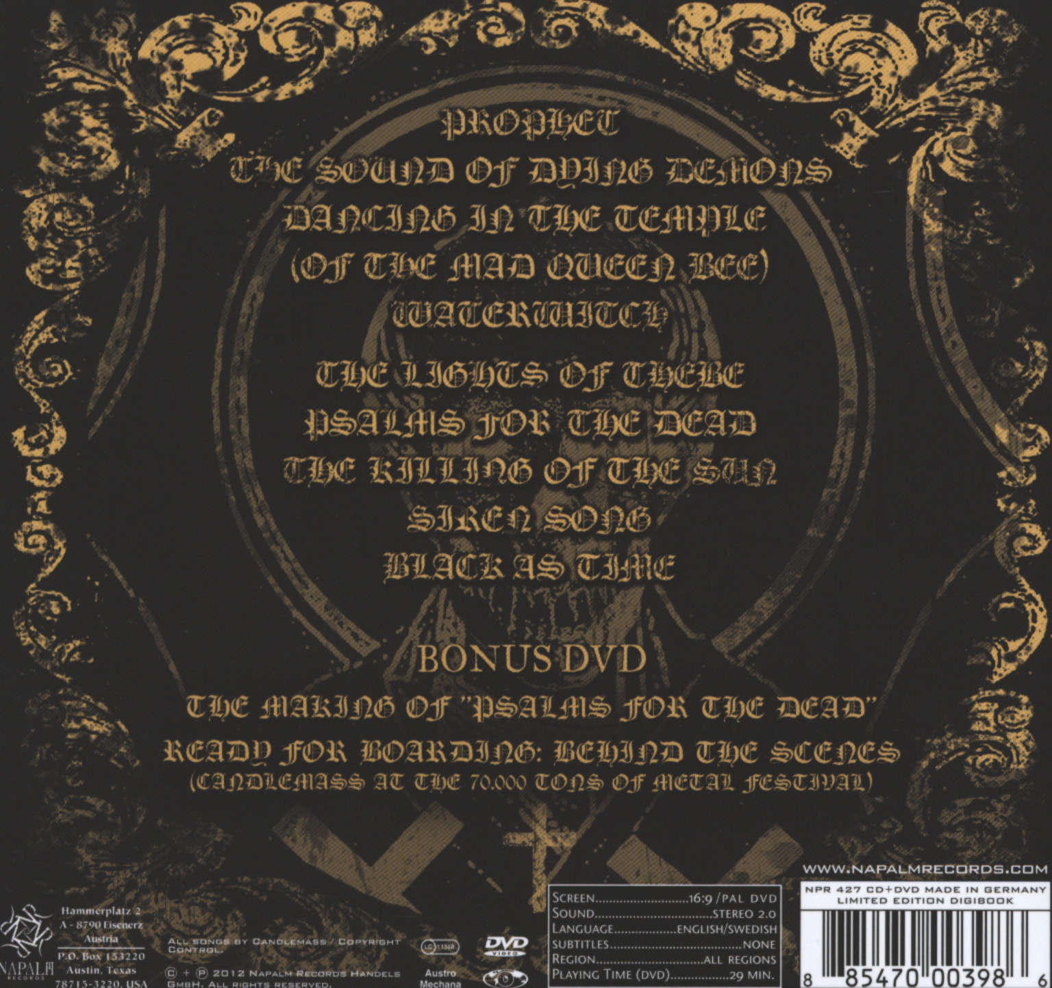Candlemass: Psalms For The Dead, CD