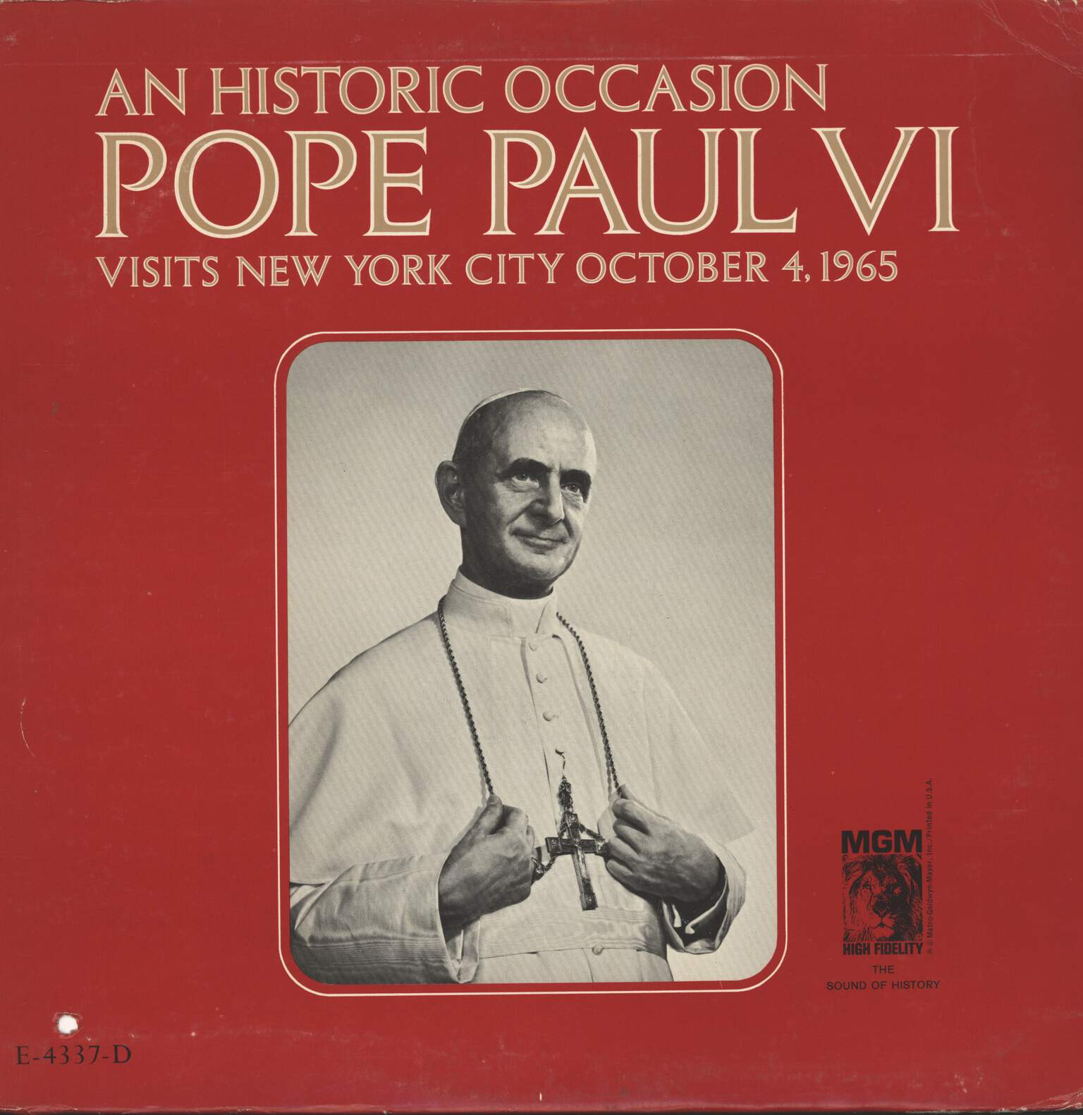 Pope Paul VI: An Historic Occasion: Pope Paul VI Visits New York City October 4,  1965, LP (Vinyl)