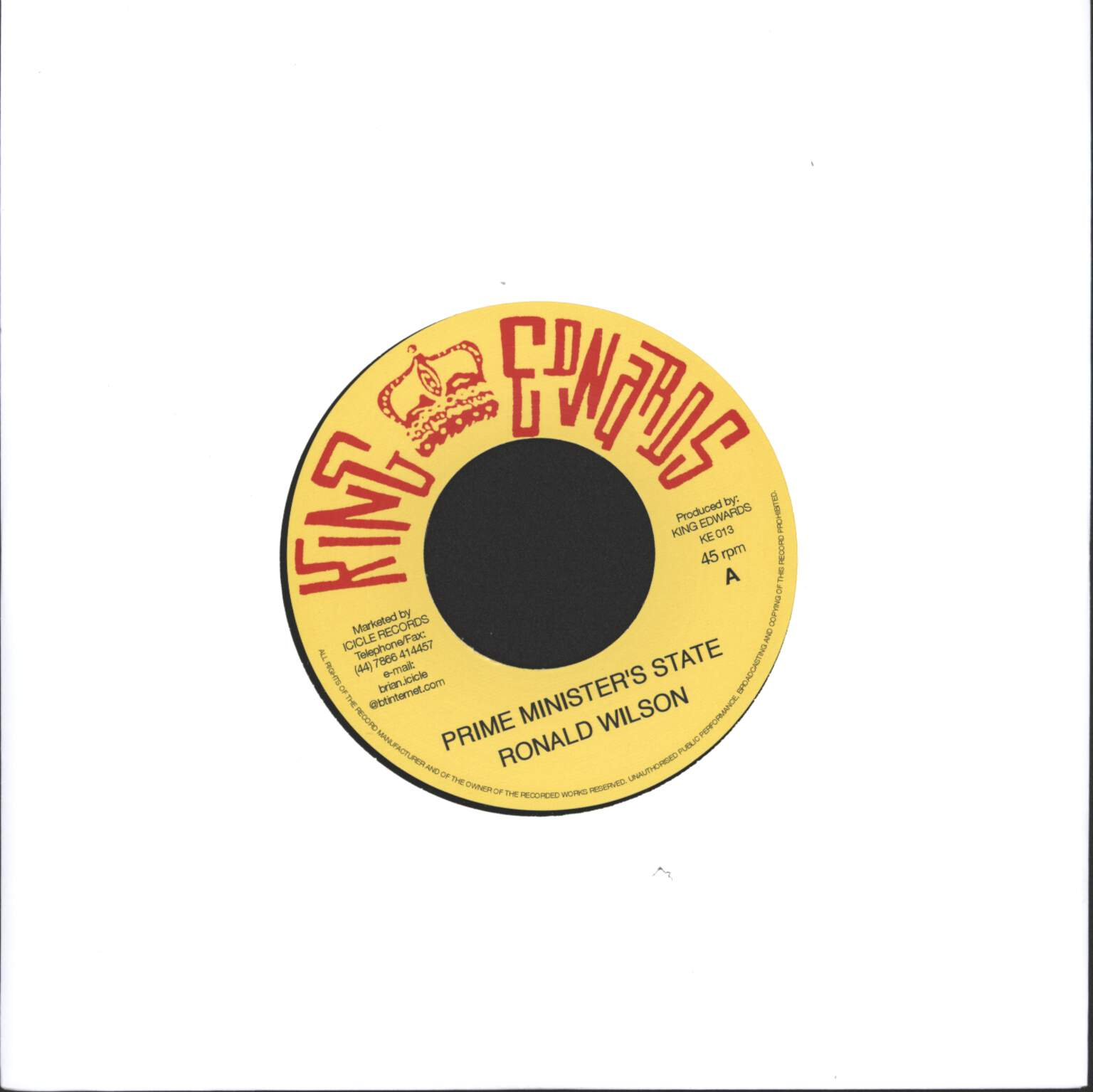 "Ronald Wilson: Prime Minister's State / Strange Country, 1×7"" Single (Vinyl)"