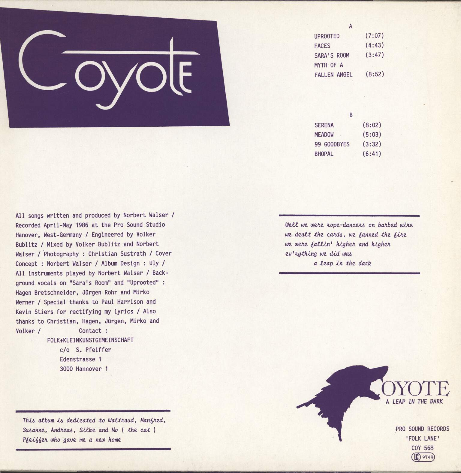 Coyote: A Leap In The Dark, LP (Vinyl)