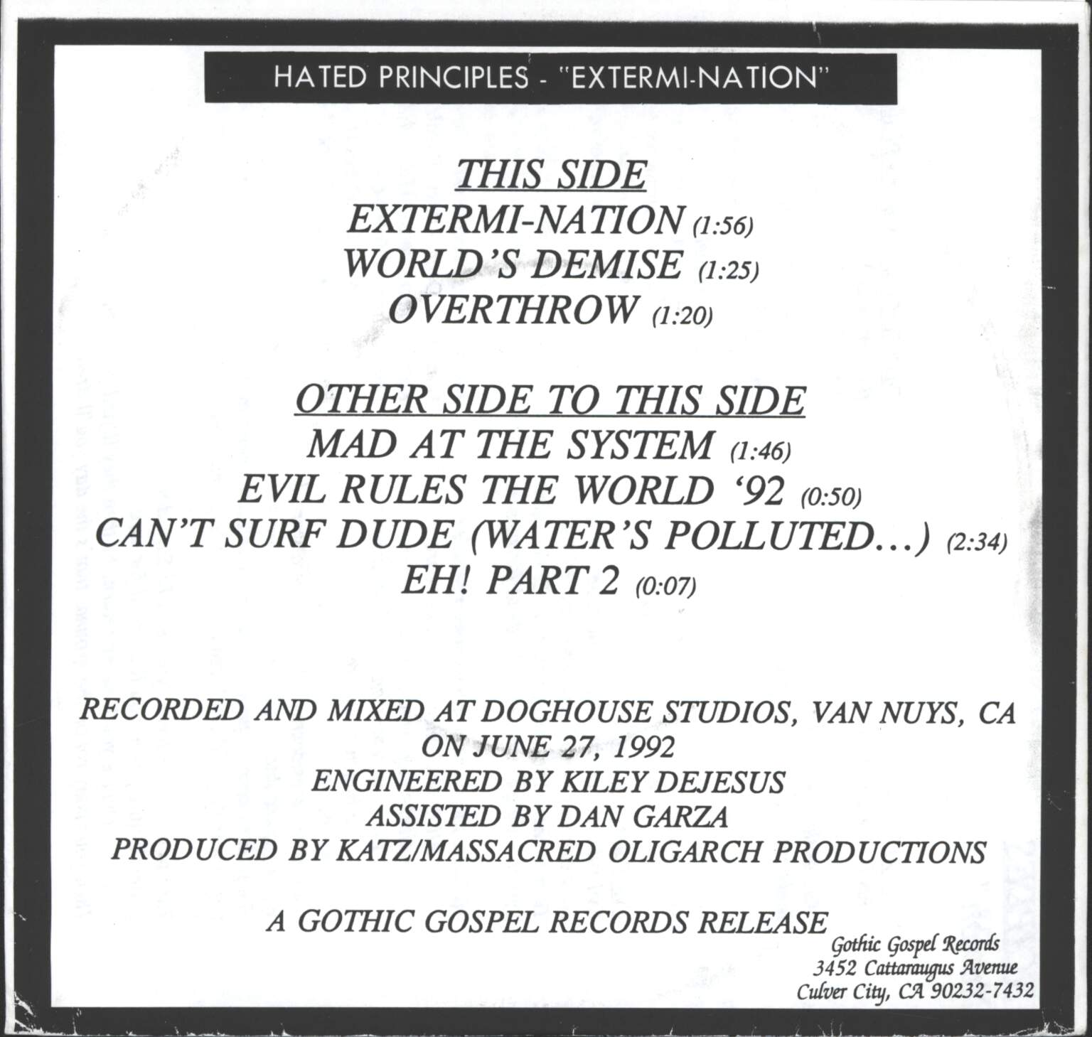 "Hated Principles: Extermi-Nation, 7"" Single (Vinyl)"