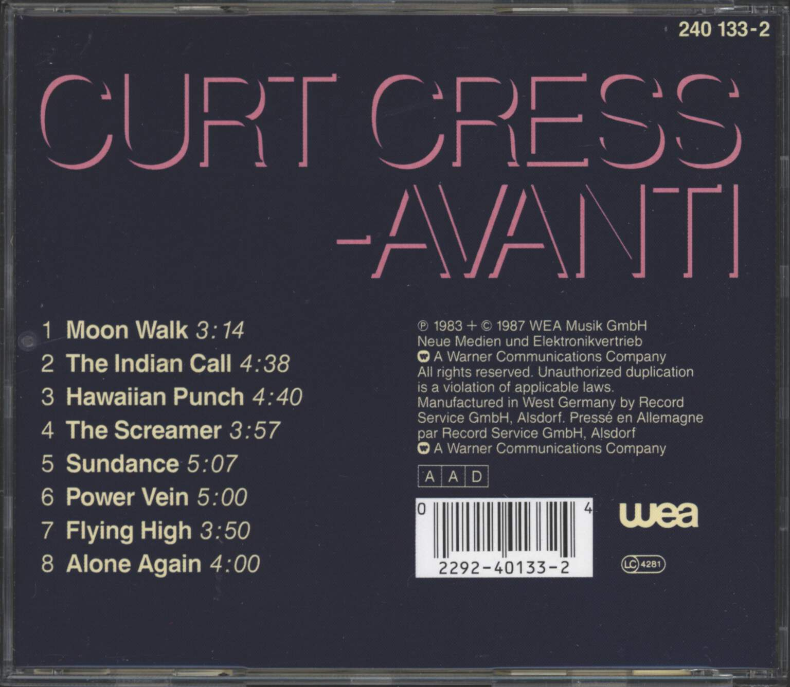 Curt Cress: Avanti, CD