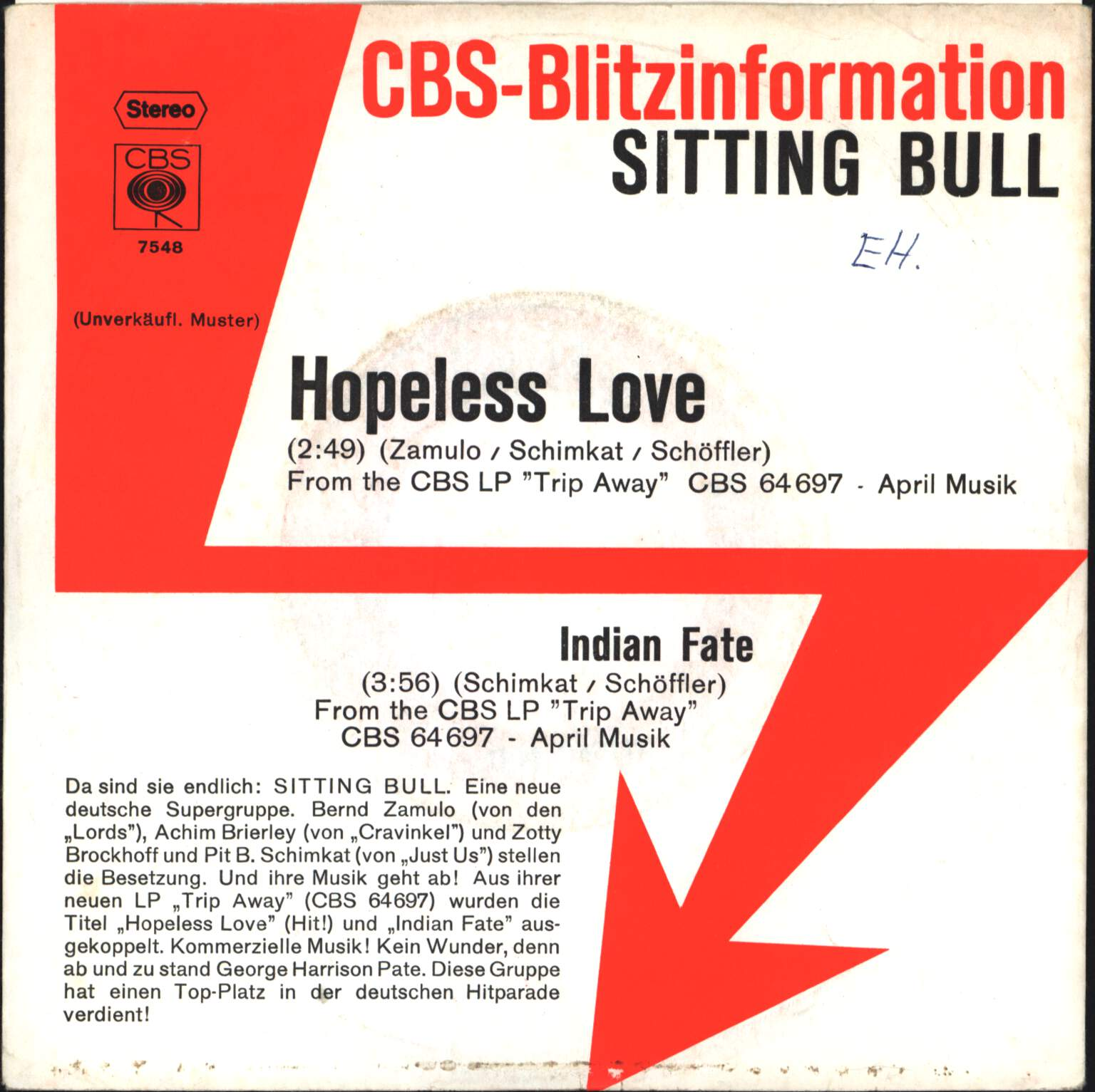 "Sitting Bull: Hopeless Love / Indian Fate, 7"" Single (Vinyl)"