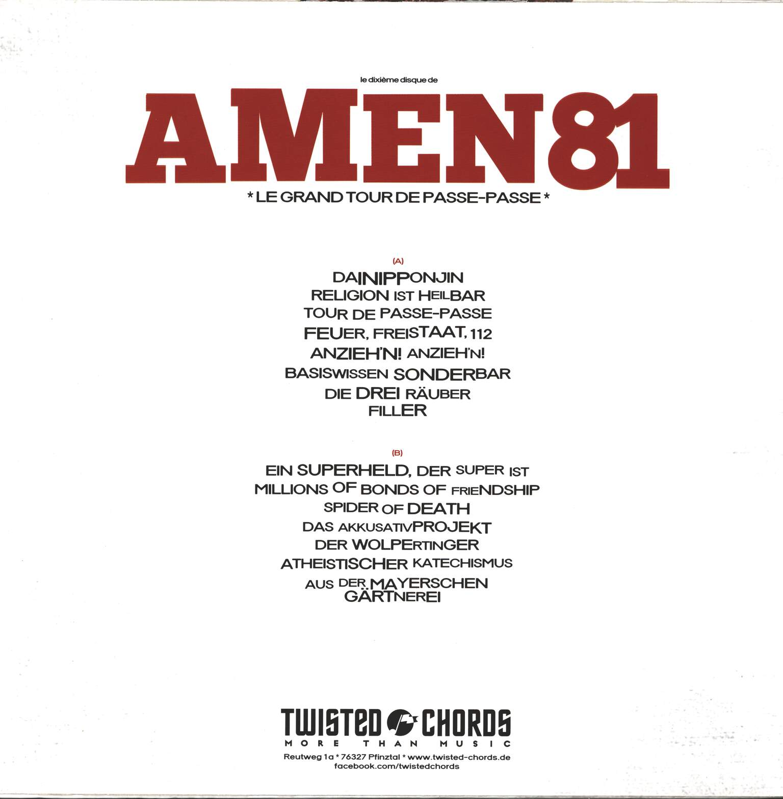 Amen 81: Le Grand Tour De Passe-Passe, LP (Vinyl)
