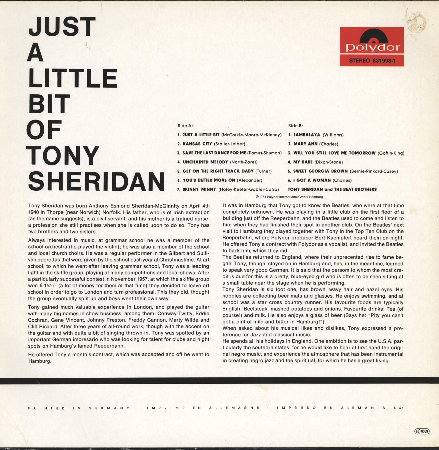 Tony Sheridan: Just A Little Bit Of Tony Sheridan, LP (Vinyl)