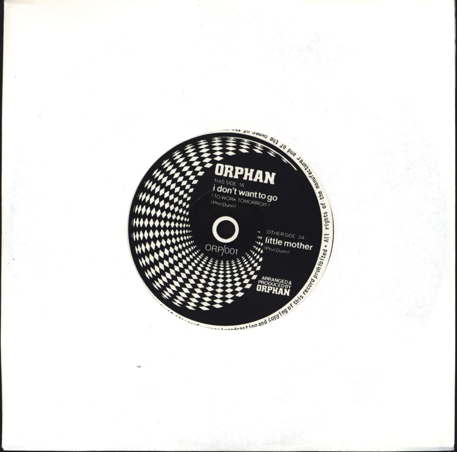 "Orphan: I Don't Want To Go (To Work Tomorrow) / Little Mother, 7"" Single (Vinyl)"