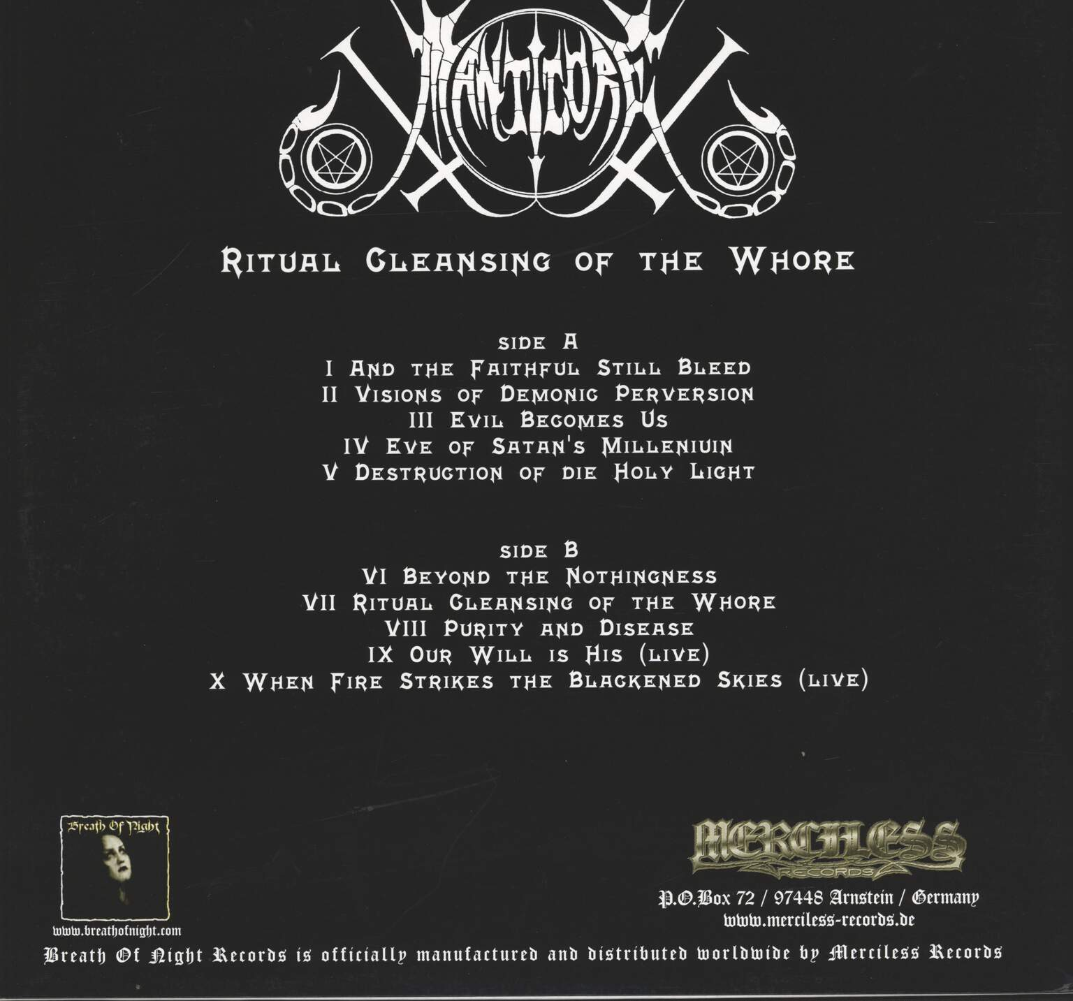 Manticore: Ritual Cleansing Of The Whore, LP (Vinyl)