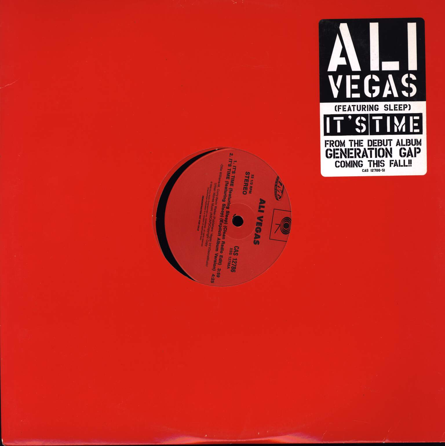 "Ali Vegas: It's Time, 12"" Maxi Single (Vinyl)"
