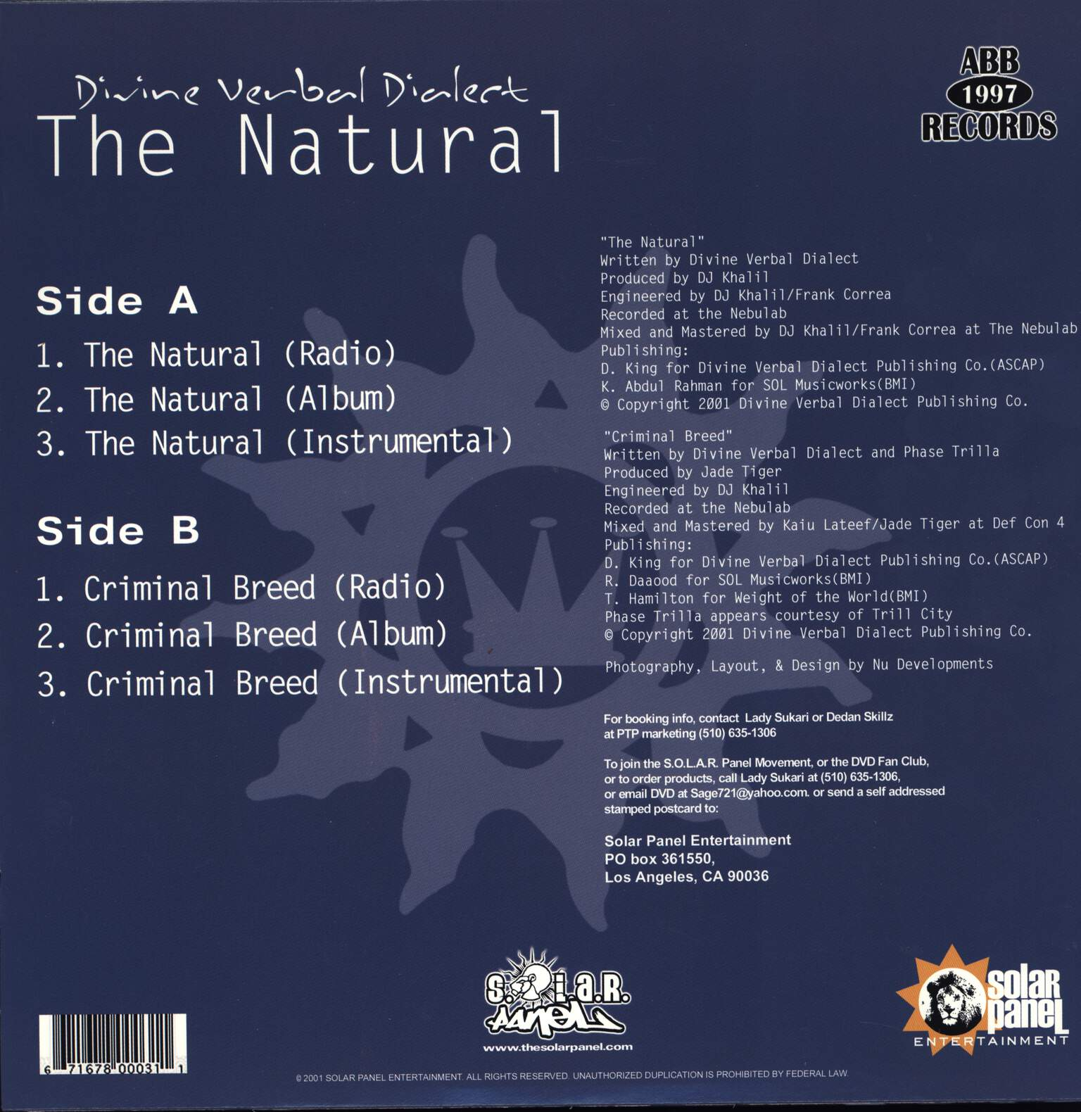 "Divine Verbal Dialect: The Natural / Criminal Breed, 12"" Maxi Single (Vinyl)"